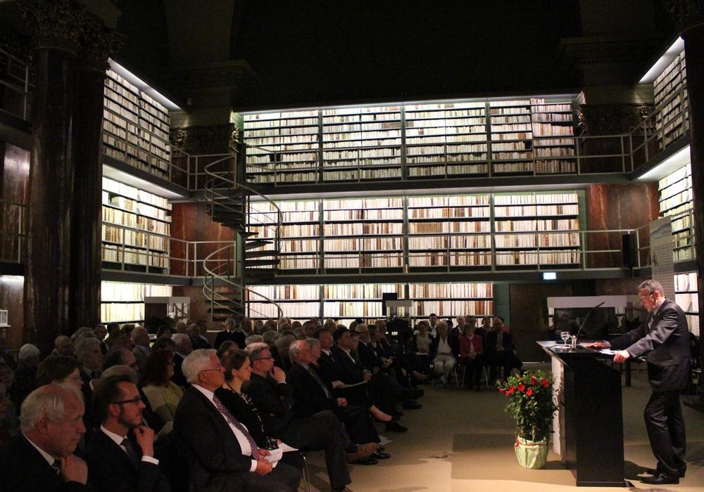 In der Augusteerhalle der Herzog August Bibliothek wurde am Sonntag der neunte Lessing-Preis für Kritik verliehen. Fotos: Jan Borner