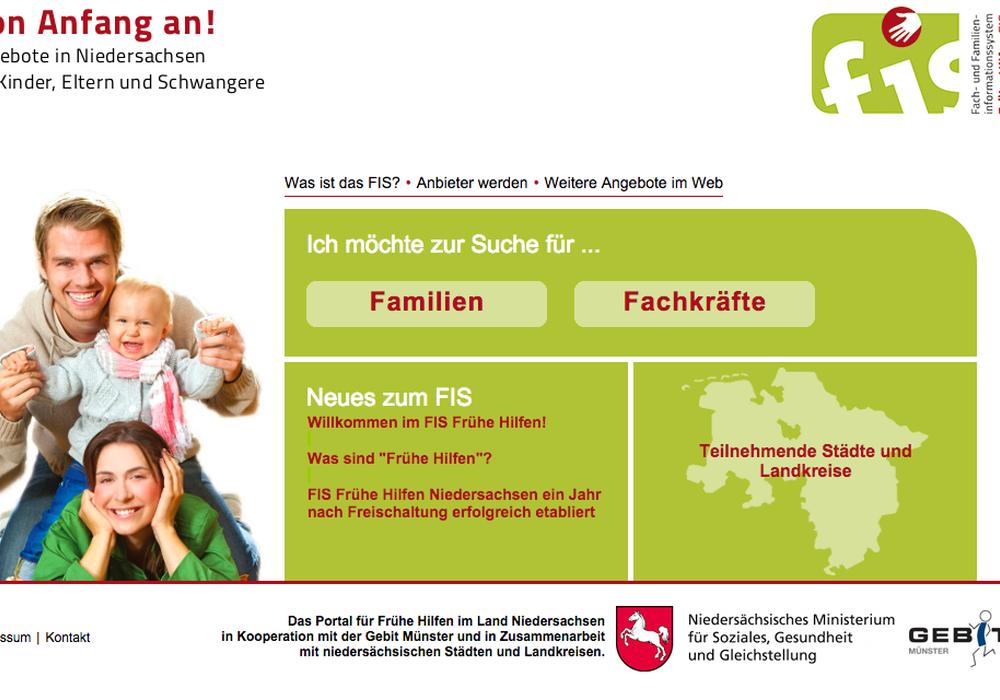 Im Internet über das Elterndasein informieren. Foto: Screenshot Portal Frühe Hilfen