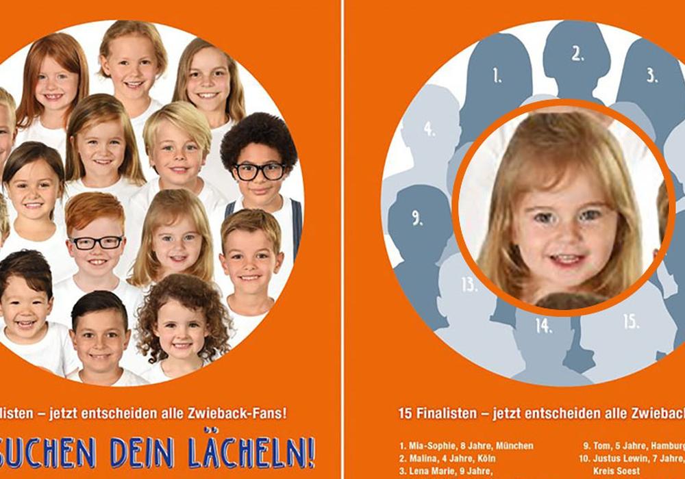 """Seit Januar suchte """"Brandt Markenzwieback"""" nach einem neuen Kindergesicht, das ab dem kommenden Jahr die Zwieback-Verpackungen des Unternehmens zieren soll. Unter den Siegern ist auch die kleine Charlotte (Nummer 11) aus Braunschweig. Foto: SMC Koeln - Stoffels Media Consulting"""