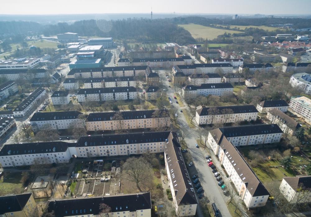 Luftbild des Höfe-Viertels Foto: FotoTreff Wolfsburg