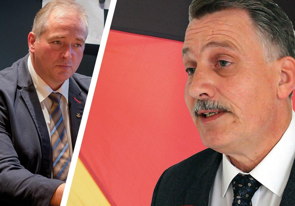AfD-Kreistagsabgeordneter Klaus-Dieter Heid (rechts im Bild) ärgert sich über den CDU-Abgeordneten Frank Oesterhelweg. Fotomontage: Werner Heise