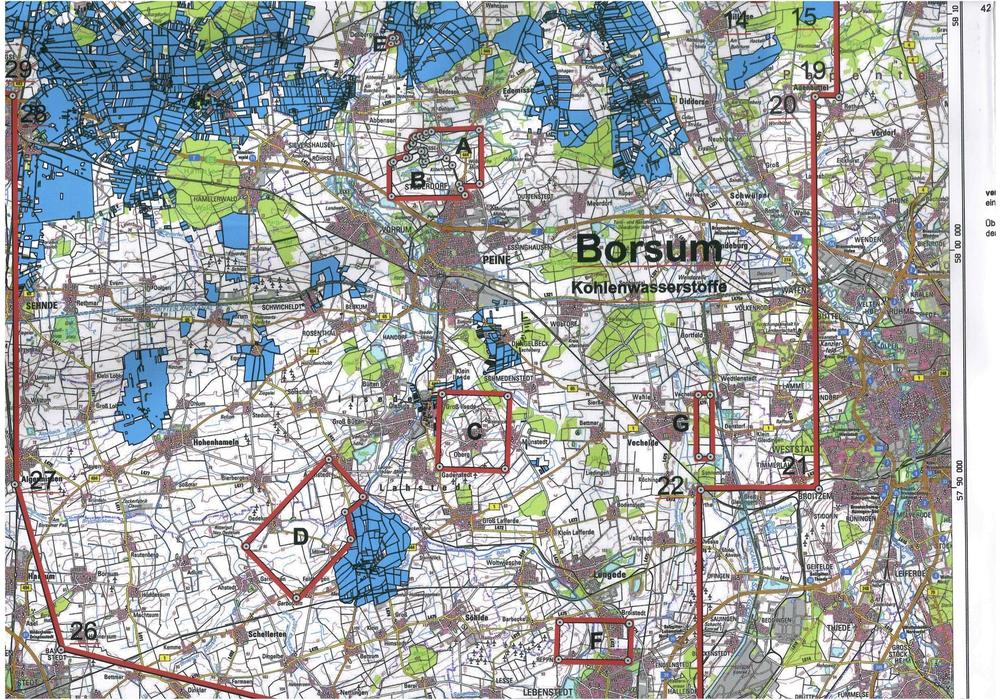 Lageplan Erlaubnisfeld Borsum. Bild: BIBS/Stadt Braunschweig