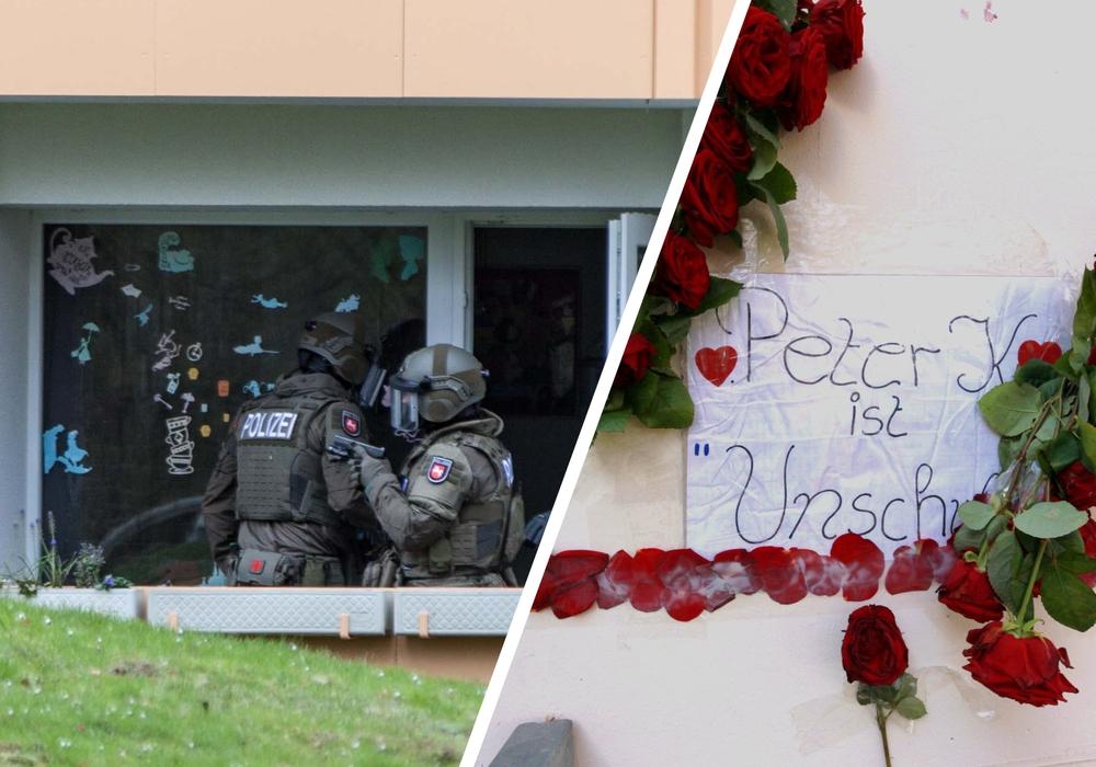 """Peter K. starb bei einem Polizeieinsatz am Hans-Blöckler-Ring (l.). Vor seiner Wohnung in der Einsteinstraße (r.) wurden mittlerweile Blumen niedergelegt, ebenso wie ein Blatt Papier auf dem """"Peter K. ist unschuldig"""" geschrieben steht. Fotos: Rudolf Karliczek"""
