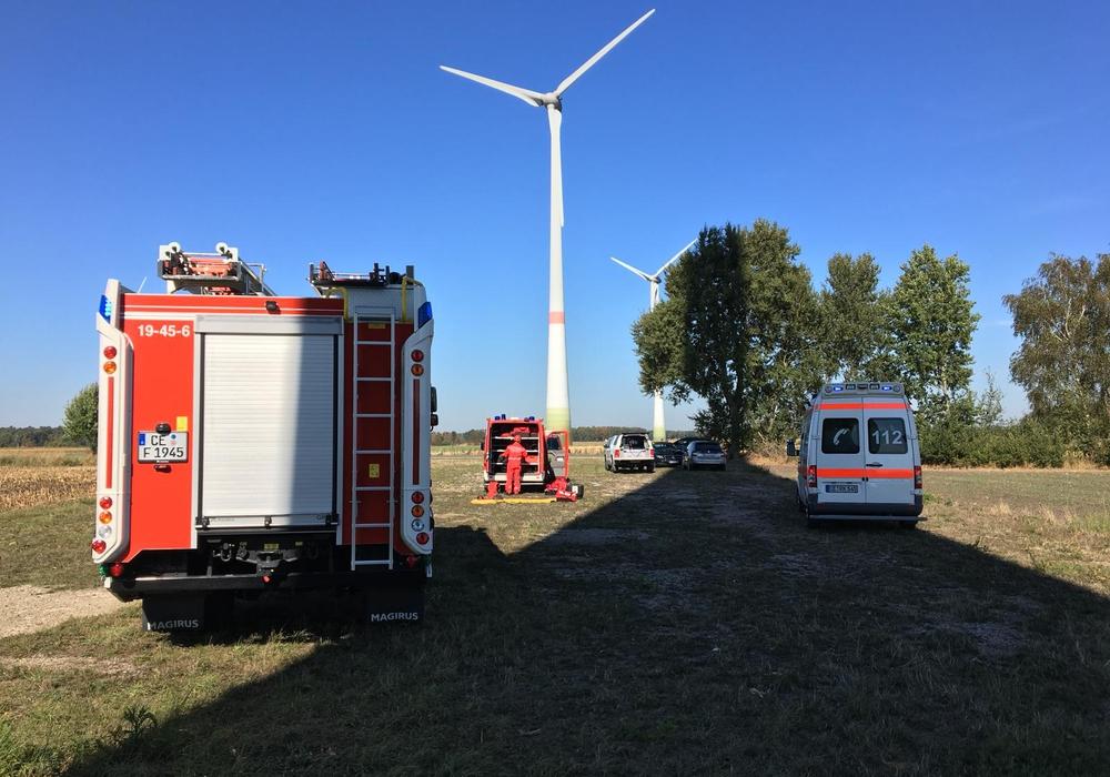 Notfalleinsatz im Windpark Schmarloh - allerdings nur eine Übung. Fotos: aktuell24/Kr