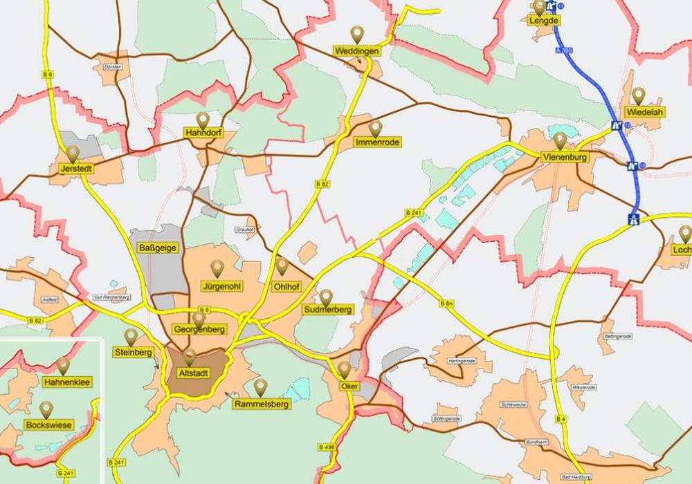 Mittels Übersichtskarte können Interessenten die Suche auf Stadtteile begrenzen. Grafik: Stadt Goslar