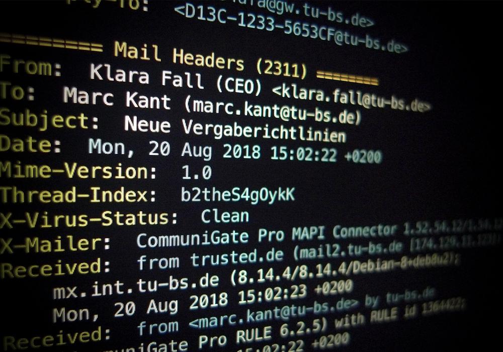 Abbildung eines E-Mail-Headers mit Strukturdaten. Foto: Institut für Systemsicherheit/TU Braunschweig