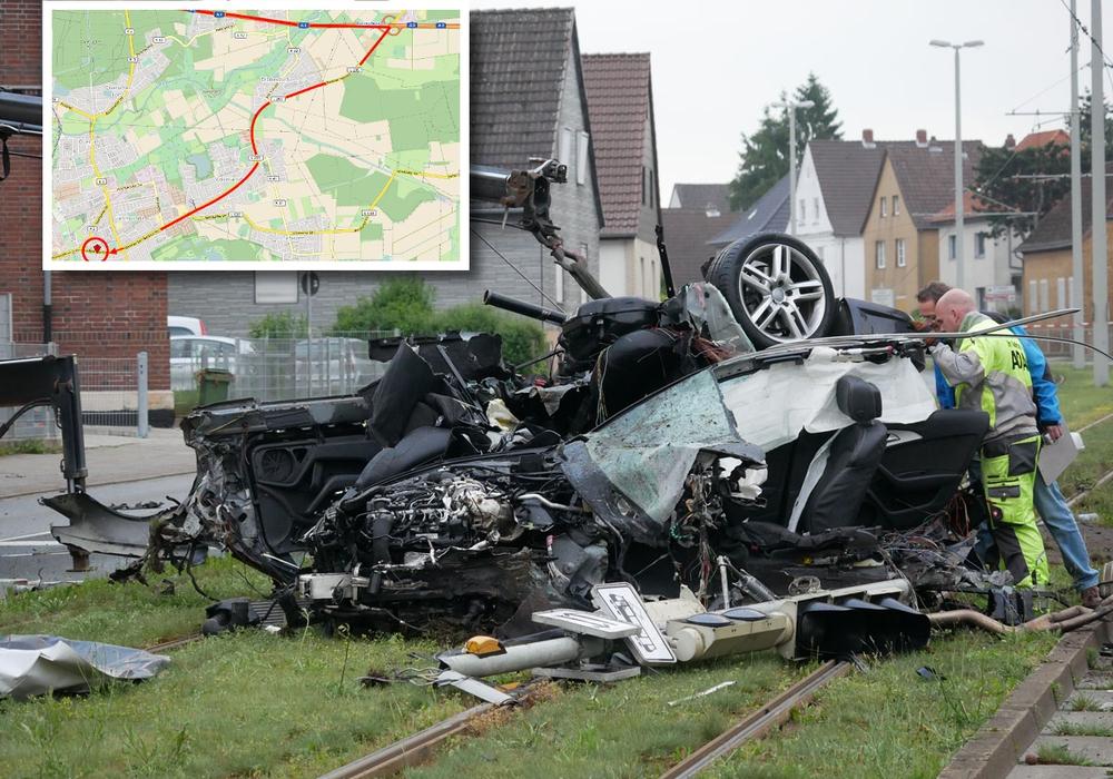 Vom gestohlenen Auto blieb nur noch ein Trümmerhaufen. Foto: Alexander Panknin