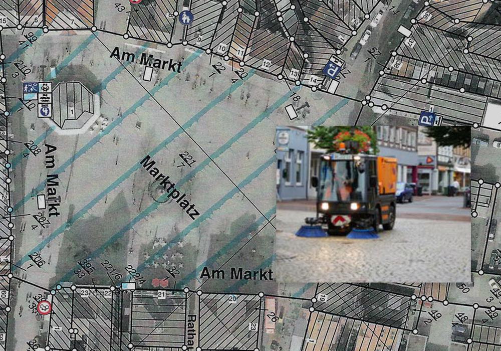 Der Marktplatz in Peine wird zukünftig als gesamtes Gebiet gekehrt. Fotos: Stadt Peine
