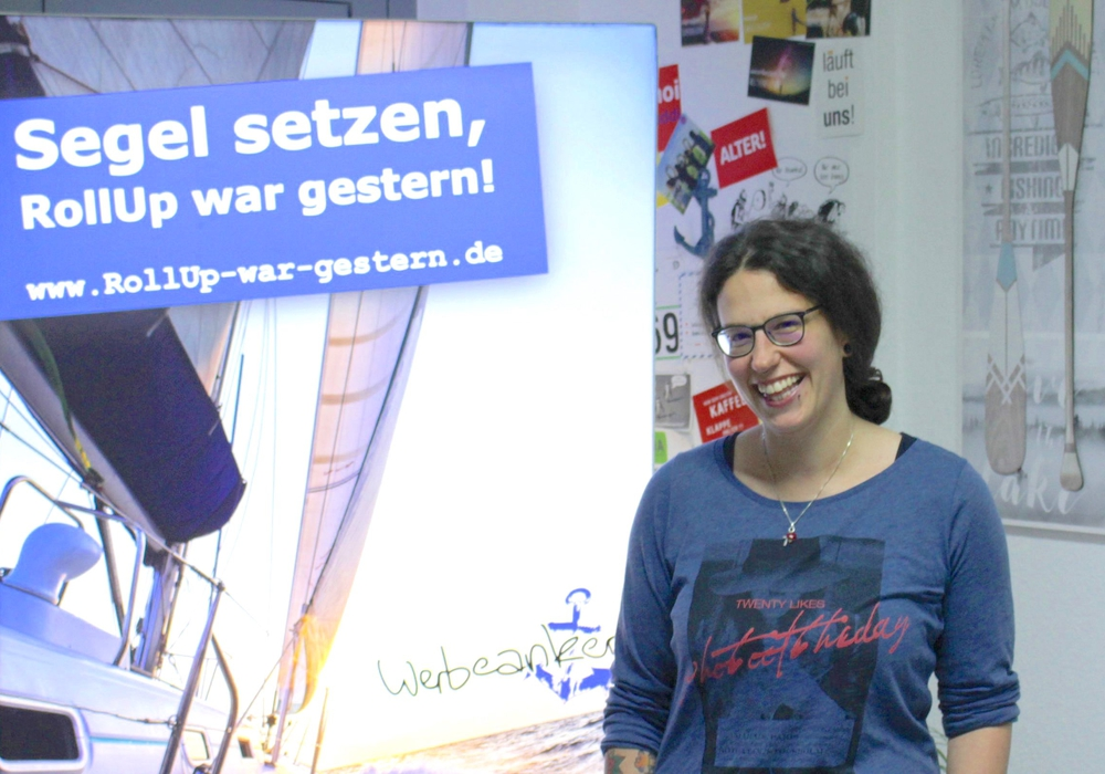 Anka Jähne, Käpt'in der Werbeagentur Werbeanker, bietet Werbung aus einer Hand. Foto: Sandra Zecchino