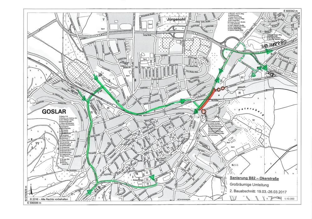 Umleitung im zweiten Bauabschnitt. Grafik: Stadt Goslar