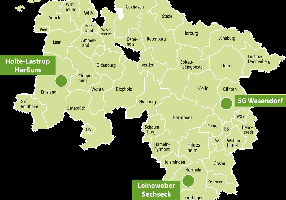 """Modellregionen des Vorhabens """"KlimaAllianz Dorfentwicklung und Landwirtschaft""""  Karte: Landkreis Gifhorn"""