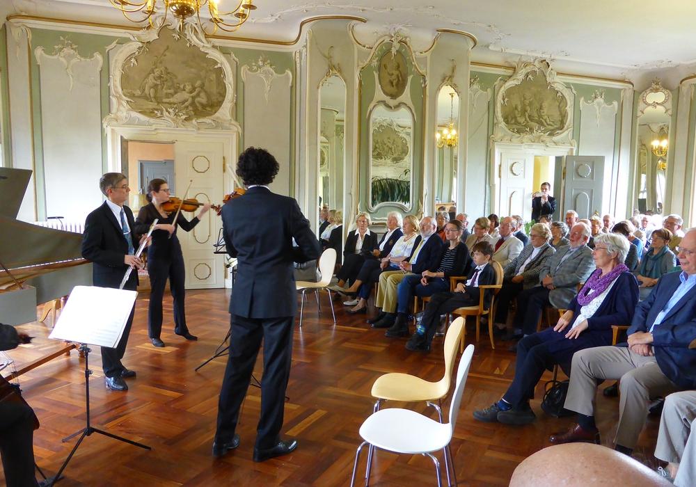 Auf dem Foto die fünf Künstler in Aktion mit ihrem Publikum im Spiegelsaal Schloß Schliestedt.Foto: privat