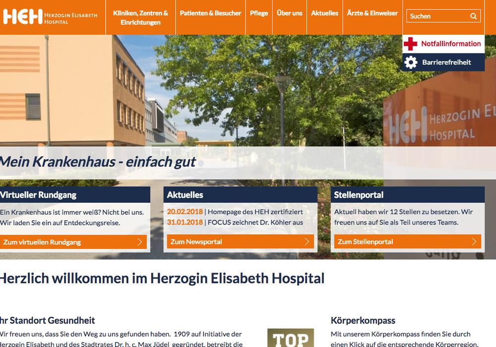 Die Internetseite des HEH ist als besonders patientenfreundlich zertifiziert worden. Screenshot: Nick Wenkel