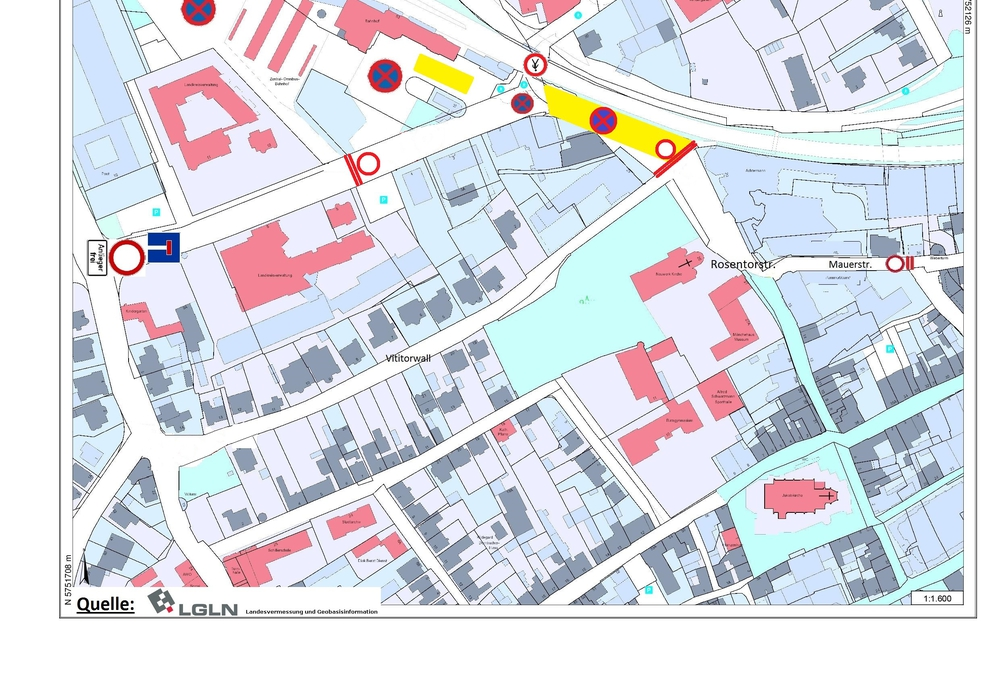 Die Kundgebungen erfordern eine Sperrung des Bahnhofvorplatzes sowie von Teilen der Klubgarten- und Rosentorstraße. Grafik: Stadt Goslar