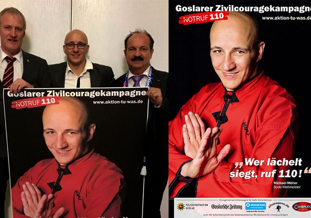 Schilff und Koschig stellen GZK-Aktionsplakat des Kampfsportasses in Rheine vor. Foto: GZK; Plakat: Heike Göttert