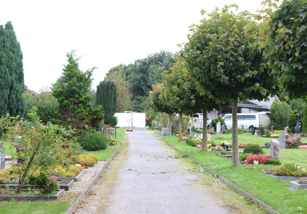 Auf dem Fümmelser Friedhof exhuminierten die Ermittlier hinter Sichtschutzwänden ein Grab. Foto: Werner Heise