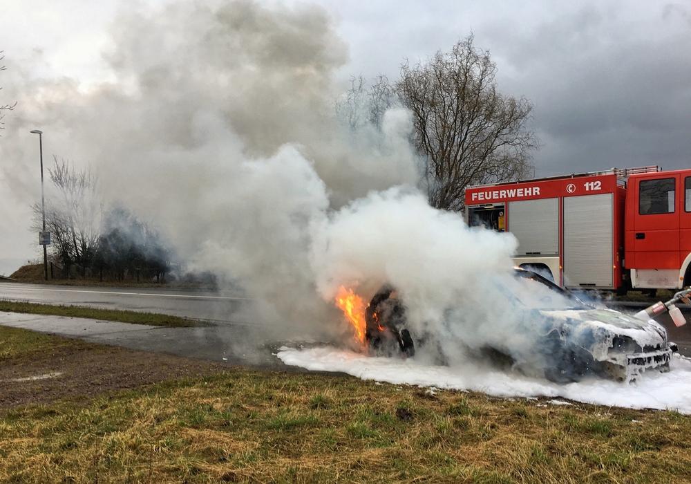 Beim Eintreffen der Feuerwehr stand das Auto in Vollbrand. Fotos: Freiwillige Feuerwehr Hohenhameln
