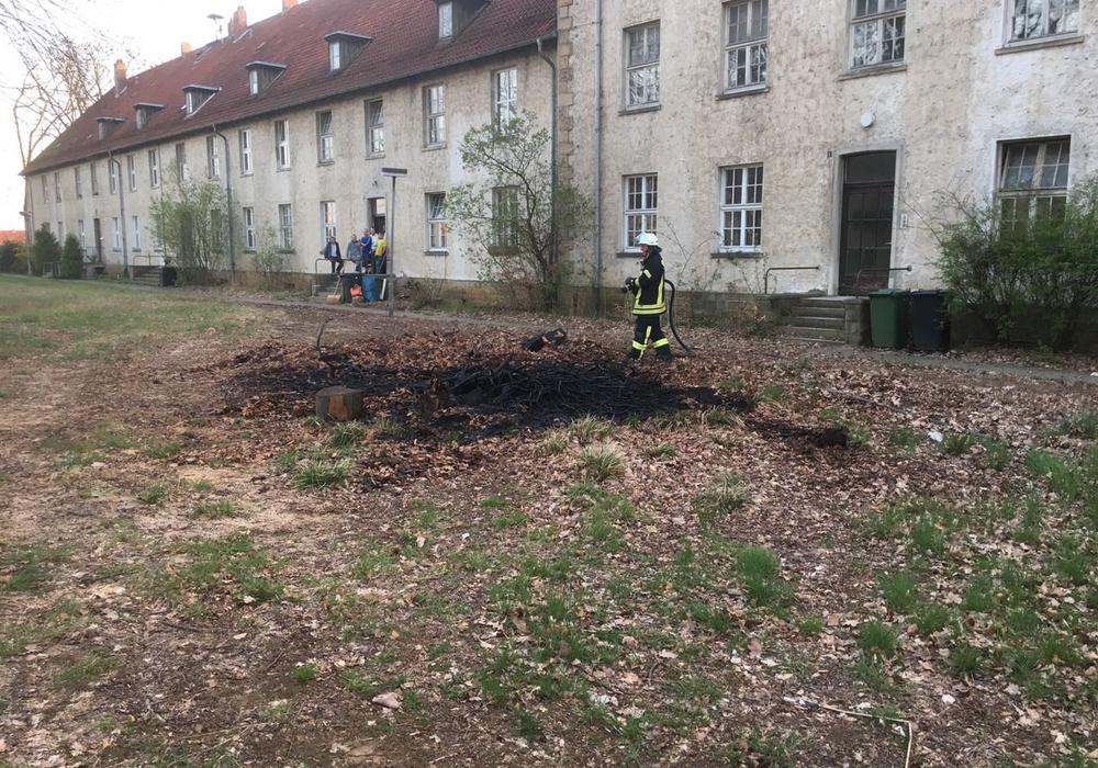Vor einem Mehrfamilienhaus in Mariental haben Gestrüpp und Strauchschitt gebrannt. Foto: Maik Wermuth