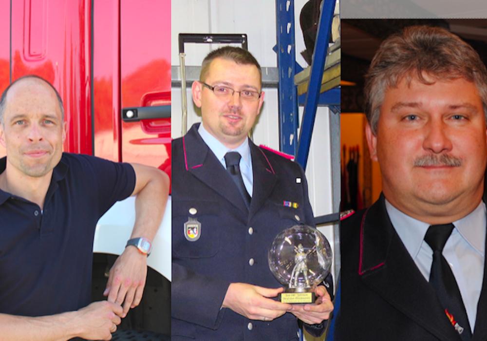 Marco Dickhut, Holger Helwig und Detlev Gliese bleiben im Amt der Ortsbrandmeister. Fotos: Privat / Jan Borner