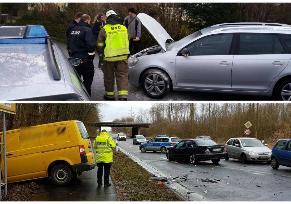 Nach dem Brand eines Wagens kümmerte sich die Feuerwehr um einen Verkehrsunfall an der Auffahrt zur A395. Foto: Feuerwehr Wolfenbüttel