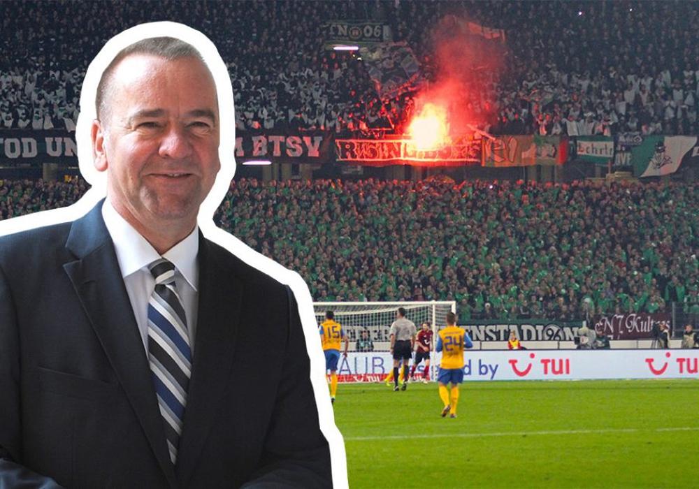 Innenminister Boris Pistorius will das Derby notfalls verlegen lassen. Fotomontage: Vollmer