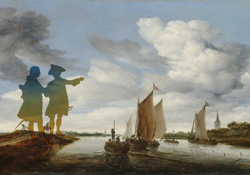Bild: Montage mit Flusslandschaft mit Segelbooten und einer Trekschute. Salomon van Ruysdael, 1660, Mauritshuis, Den Haag.