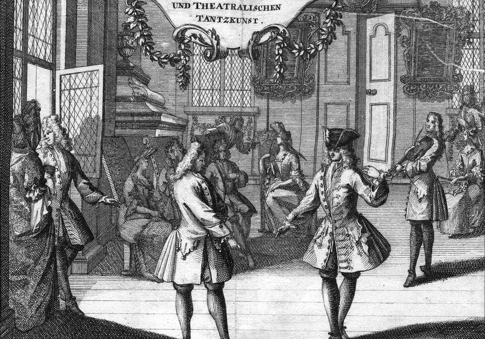 Louis Bonin: Die Neueste Art zur Galanten und Theatralischen Tantz- Kunst. Frankfurt & Leipzig, bey Johann Lochner, 1712. Foto: HAB