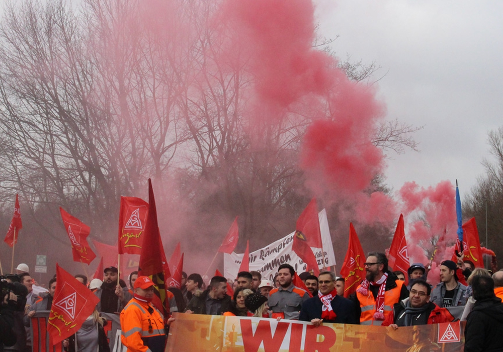 Die IG Metall zeigt ihre ausgeprägte Demonstrations-Kultur. Foto: Antonia Henker
