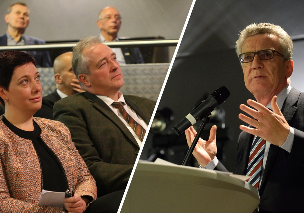 Auf Einladung der CDU-Landtagskandidaten Sarah Grabenhorst-Quidde und Frank Oesterhelweg kam Bundesinnenminister Dr. Thomas de Maiziére am Montagabend in die Lessingstadt. (v.l.n.r.) Foto: Werner Heise/Moritz Eden