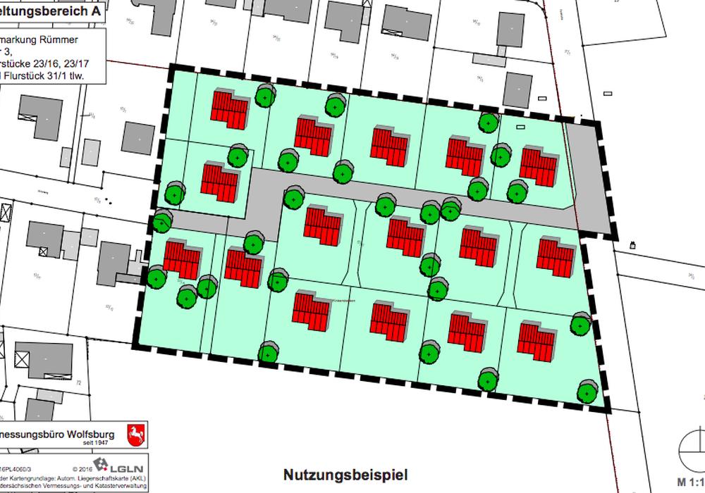 Hier soll das neue Baugebiet entstehen. Karte: Vermessungsbüro Wolfsburg