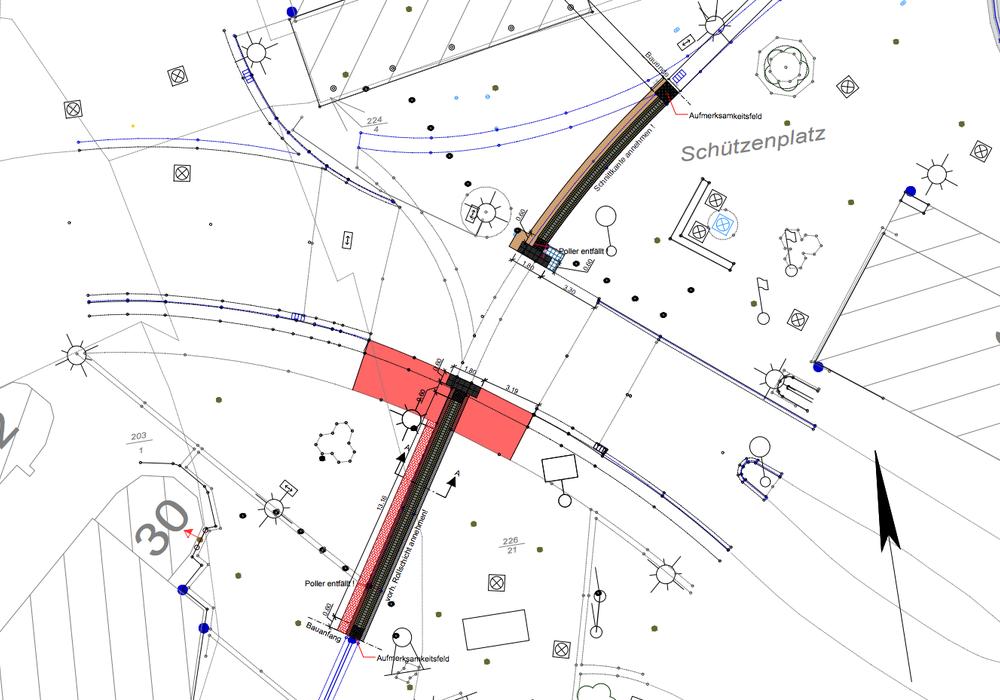 Querungsstelle Vorsalzer Straße / Schützenplatz. Karte: Stadt Salzgitter