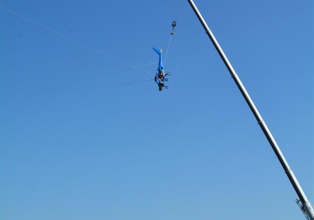 So hing der Flieger, eine C4 von Flight Design, am Haken und wartete auf die Auslösung.  Foto tiw