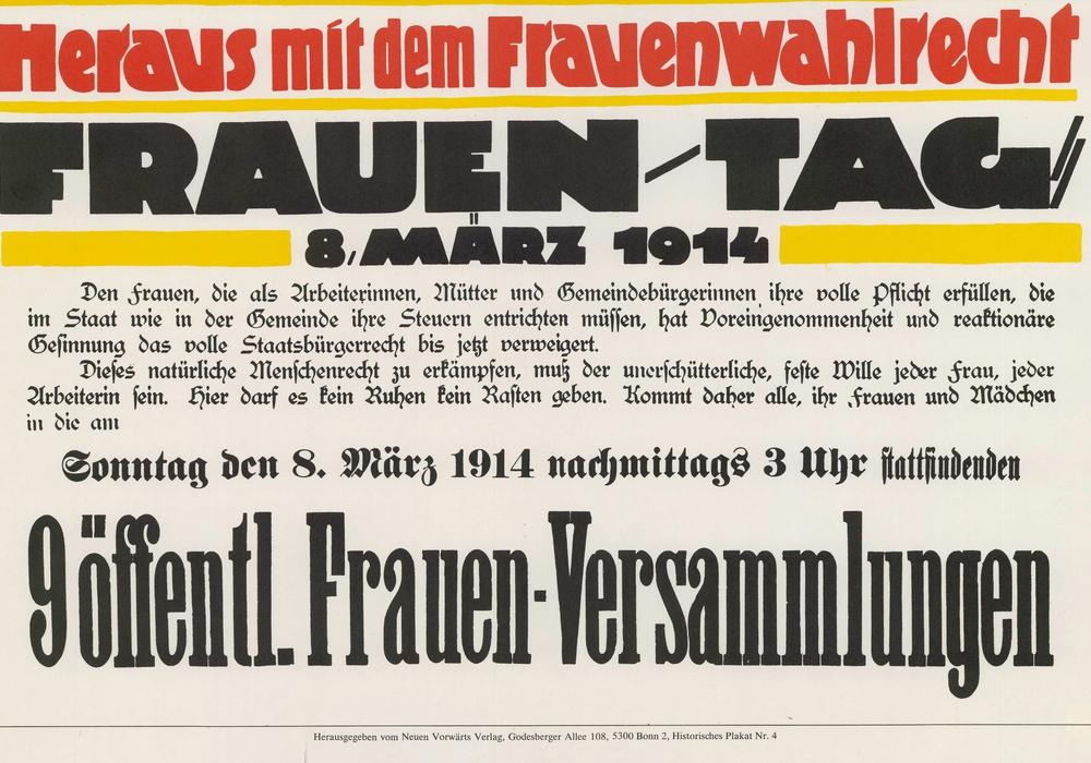 SPD-Plakat zum Internationalen Frauentag am 8. März 1914. Foto: Archiv der sozialen Demokratie der Friedrich-Ebert-Stiftung