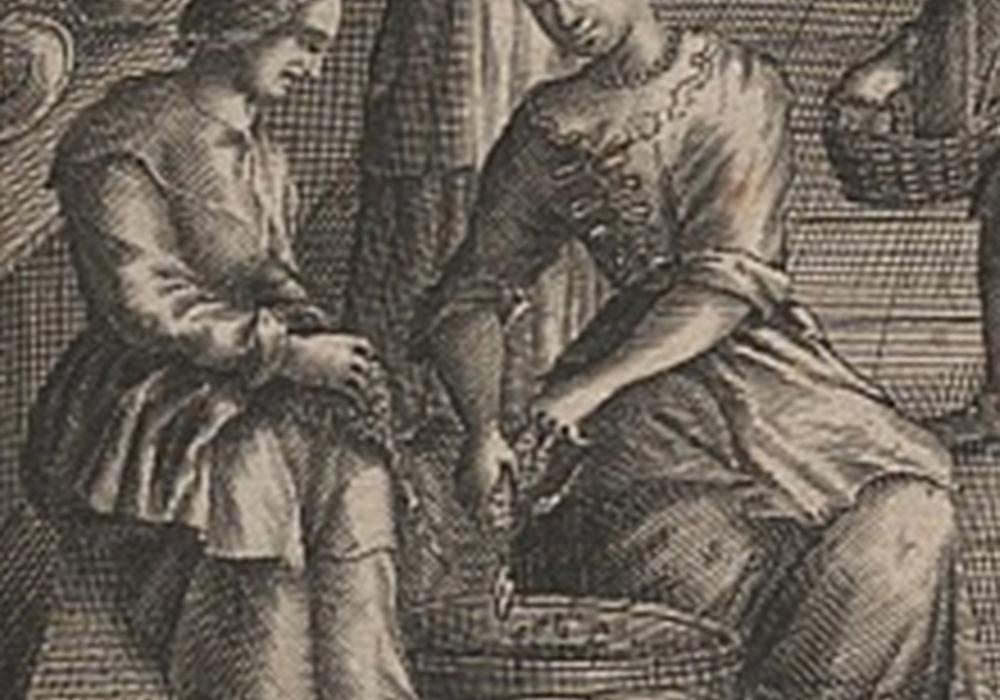 """Frauen bei der Küchenarbeit, Ausschnitt aus dem Titelkupfer """"Die Wohlunterwiesene Köchin..."""", 1697, geschrieben von der Helmstedter Professorentochter Maria Sophia Conring. Foto: Landkreis Helmstedt"""