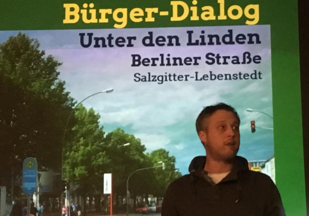 Der Stadtratsfraktionsvorsitzende Marcel Bürger bekräftige, dass die Grünen die Linden vor der Kettensäge retten wollen. Fotos Frederick Becker
