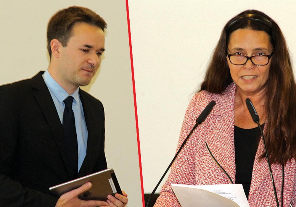 Helge Böttcher (Bündnis90/Grüne) und Anke Schneider (Die Linke) sorgten für eine hitzige Debatte im Rat. Fotos: André Ehlers