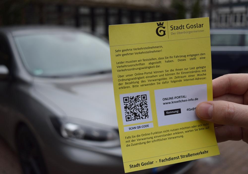 Mithilfe der Kennung kann im Online-Portal der Grund für das Knöllchen abgerufen und das Verwarngeld direkt bezahlt werden. Foto: Stadt Goslar