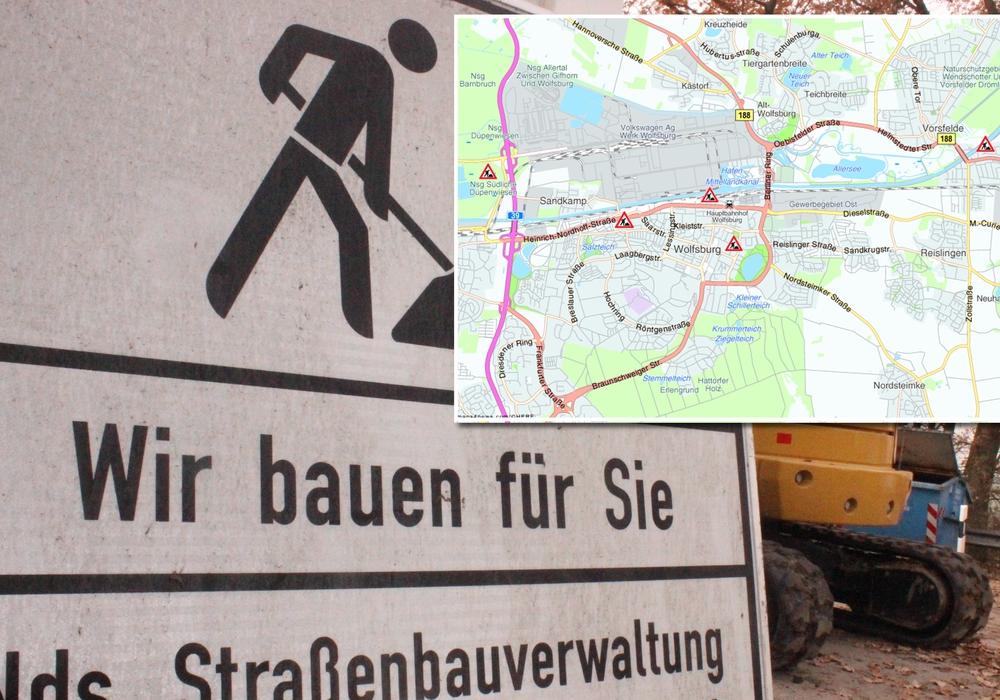regionalHeute.de gibt einen Überblick zu den aktuellen Baumaßnahmen in Wolfsburg. Foto: Nick Wenkel/Anke Donner, Karte: maps4news.com