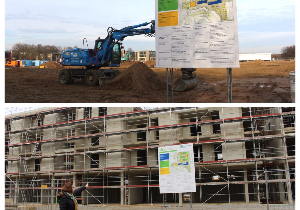 Der Baufortschritt sichtbar gemacht: Der Alsterplatz im Dezember 2016 und 2017. Fotos: Archiv (Robert Braumann)/Alexander Dontscheff