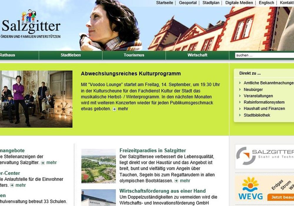 Die Internetseite der Stadt Salzgitter, www.salzgitter.de, konnte im Jahr 2017 rund 15,7 Millionen Seitenaufrufe verzeichnen. Screenshot: Stadt Salzgitter