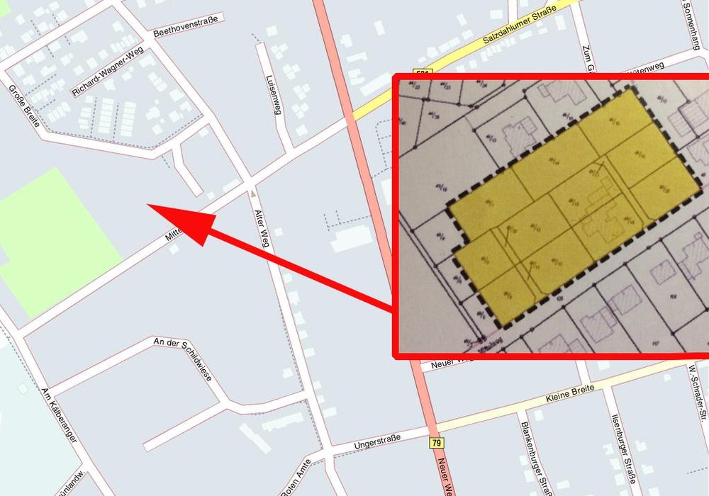 Hier am Mittelweg könnten demnächst neue Einfamilienhäuser entstehen. Karte: HERE, Montage: Heise