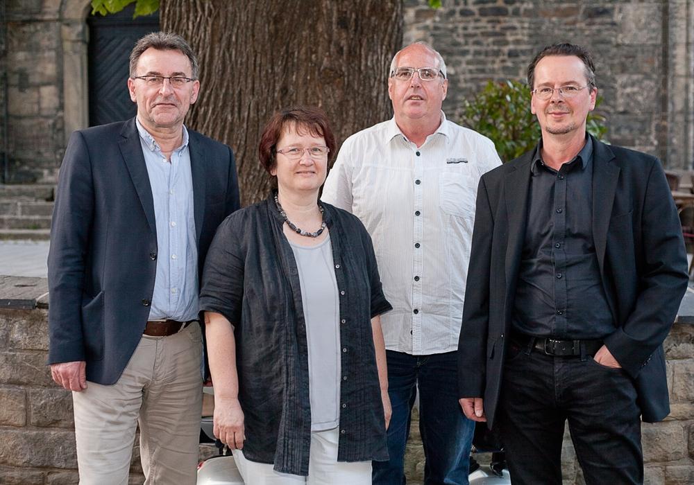 Grüne-Ratskandidaten 2016: (von link) Holger Fenker, Sabine Seifarth, Holger Plaschke besetzen die drei Plätze der Grünen im neuen Rat. Vierter auf der Liste, Jochen Baldauf (rechts), schaffte den Einzug nicht mehr. Foto: Alec Pein