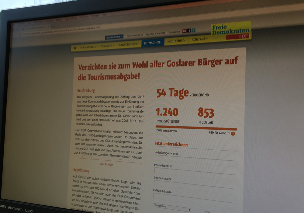 Noch bis zum 11. März läuft  die Online-Petition gegen die Tourismusabgabe in Goslar. Foto: Eva Sorembik