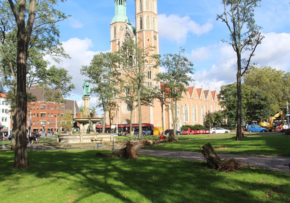 Nach dem Sturm herrscht eine bessere Sicht auf Heinrichsbrunnen und Katharinenkirche. Fotos und Podcast: Alexander Dontscheff