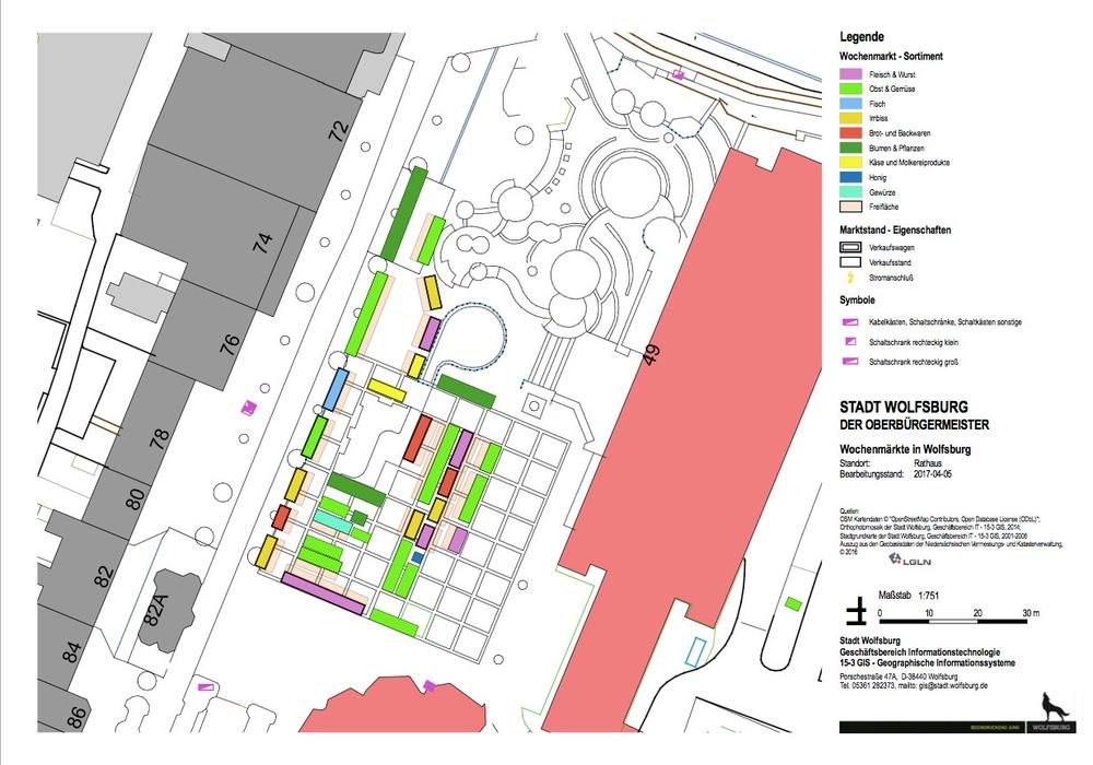 Der neue Stellplan des Wochenmarktes: Grafik: Stadt Wolfsburg