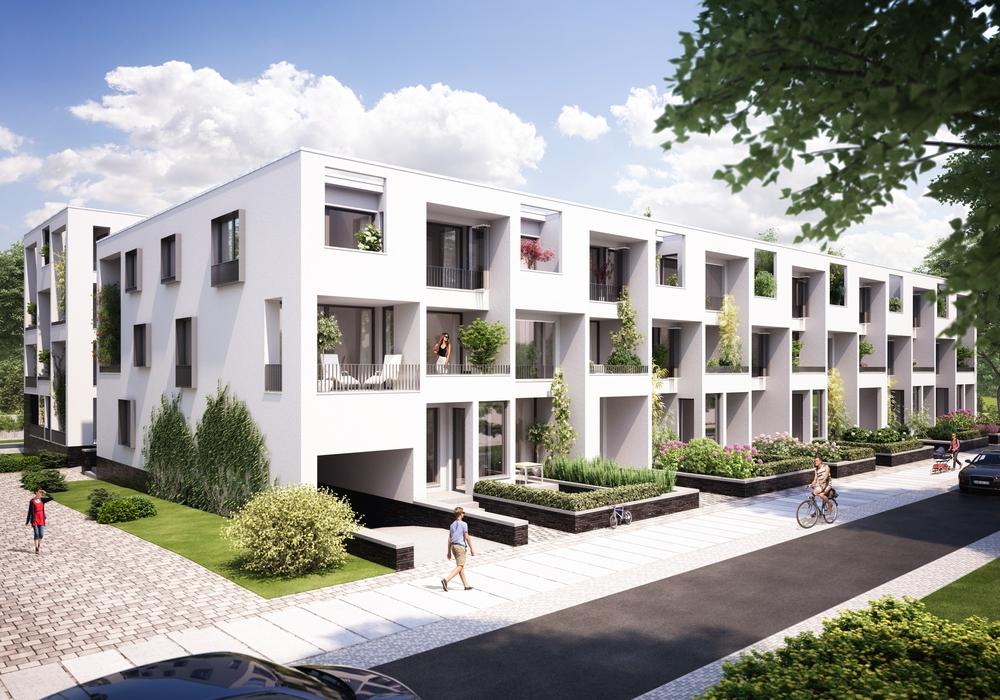 Visualisierung des geplanten Wohnhofs an der Reislinger Straße. Visualisierung: Buhlmann Immobilien GmbH, Bremen.