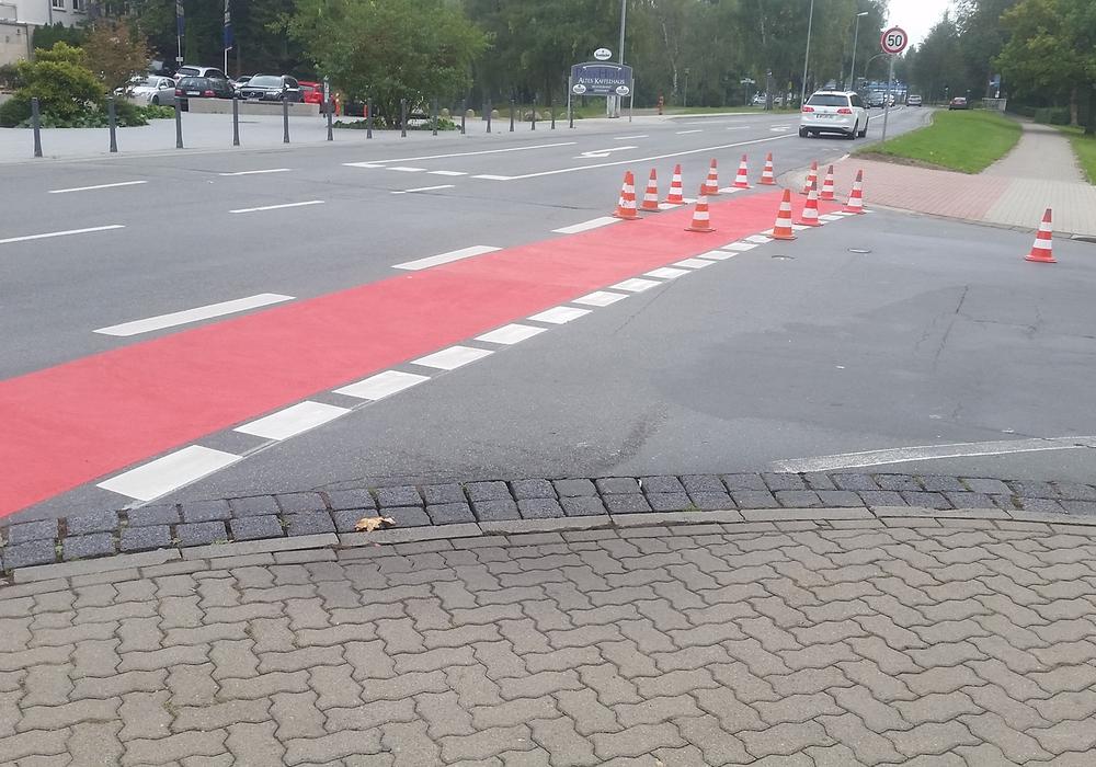 Wie hier im Bereich der Langen Straße wurden die Radweg-Markierungen in Wolfenbüttel an mehreren Stellen erneuert. Foto: Stadt Wolfenbüttel