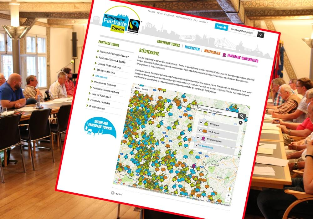 Wolfenbüttel soll eine Fairtrade-Town werden. Eine Karte im Internet zeigt an, wer schon dabei ist. Foto: Werner Heise / Screenshot: https://www.fairtrade-towns.de/fairtrade-towns/staedtekarte/