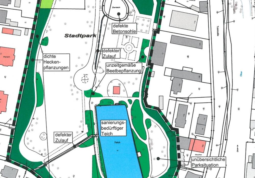 Ein Ausschnitt des Bestandsplanes zeigt: Im Stadtpark Oker stehen einige Maßnahmen auf der Agenda. Grafik: Stadt Goslar