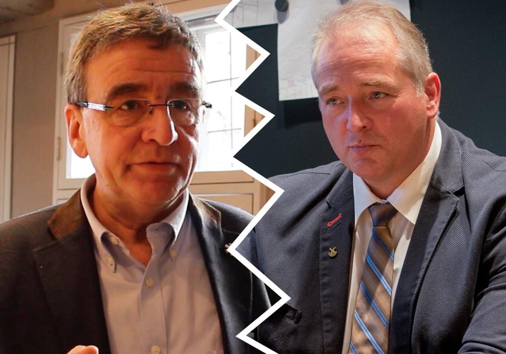 Bürgermeister Thomas Pink (links) verwehrt sich gegen die Anschuldigen von Frank Oesterhelweg. Fotos: Werner Heise/Archiv/Nick Wenkel